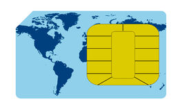 Sim card concept. One close up view of a sim card (3d render Royalty Free Stock Image