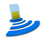 Sim card concept. One sim card with the wireless symbol (3d render Royalty Free Stock Image