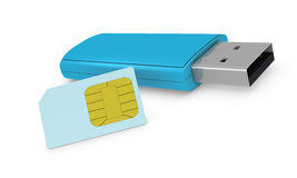Sim card concept. One internet key with a sim card (3d render Royalty Free Stock Image