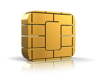 SIM card or credit card concept. Golden card microchip isolated on white background with reflection effect Stock Images