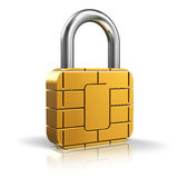 SIM card or credit card security concept. Golden padlock from card microchip isolated on white background with reflection effect Stock Photography