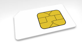 SIM card. 3D Model of a SIM card. The model is isolated on a white background Stock Photos