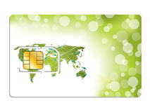 Sim card design with world map Royalty Free Stock Photos