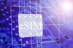 SIM Card e conceito encaixado eSIM do símbolo do ícone do cartão de SIM Conceito da evolução do cartão de SIM ilustração stock
