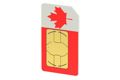 SIM card with flag of Canada Royalty Free Stock Image