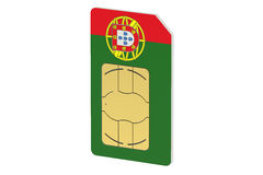 SIM card with flag of Portugal Stock Images