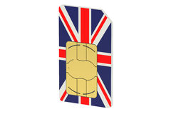 SIM card with flag of UK Royalty Free Stock Photo