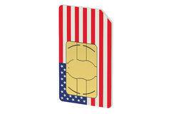 SIM card with flag of  USA Royalty Free Stock Photos