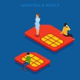 SIM card flat isometric concept vector illustration