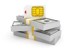 SIM Card för mobiltelefon över bunt av dollarräkningar Arkivbild