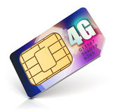 SIM card for 4G enabled operator. Creative abstract mobile telecommunication, wireless technology and mobility business communication internet concept: color SIM Royalty Free Stock Photo