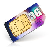 SIM card for 3G enabled operator. Creative abstract mobile telecommunication, wireless technology and mobility business communication internet concept: color SIM Stock Photography