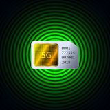 SIM card with 5G network support royalty free illustration