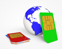 SIM card .Global Communications Royalty Free Stock Photography