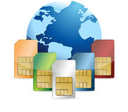 Sim card and globe illustration design Royalty Free Stock Photography