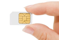 Sim card In a hand close up Royalty Free Stock Photography
