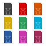 Sim card icon, color icons set. Simple vector icon Royalty Free Stock Photography