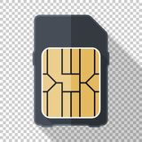 Sim card icon in flat style with on transparent background. Sim card icon in flat style with long shadow on transparent background stock illustration