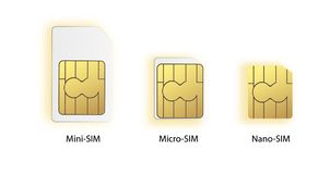 SIM card icon symbol concept. new chip mobile cellular communication technology. set SIM-cards for mobile devices with. Chip. vector illustration. Vector stock illustration