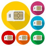 Sim card icons set with long shadow. Vector icon Stock Photography
