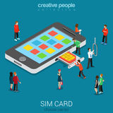 SIM card insertion into smartphone Royalty Free Stock Photography