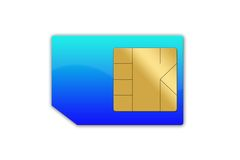 Sim card isolated. Royalty Free Stock Photography