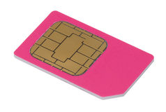 Sim card for mobile phone. Isolated on white background Royalty Free Stock Images