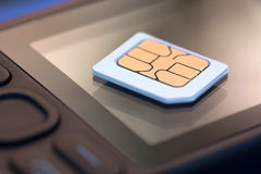 Sim card. Mobile phone sim card. Shallow dof Stock Image