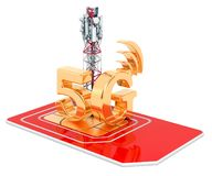 Sim card with mobile tower, 5G concept. 3D rendering stock photography