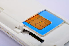 Sim card in modem Stock Photo