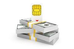 SIM Card per il telefono cellulare sopra la pila di banconote in dollari Fotografia Stock Libera da Diritti
