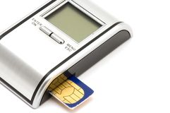 SIM card reader Stock Photos