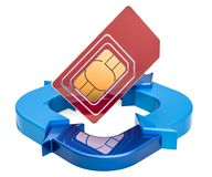 SIM card with ring diagram from blue arrows, 3D rendering. Isolated on white background Stock Images