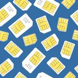 Sim Card Seamless Pattern Background Vecteur Photo libre de droits