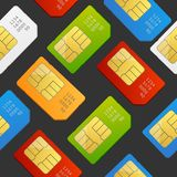 Sim Card Seamless Pattern Background Vetor Fotos de Stock Royalty Free