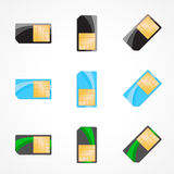 Sim card set. Illustration of designer on white background. Illustration of designer on white background Stock Photo