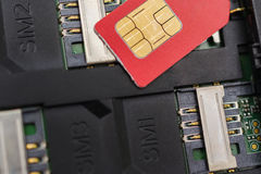 SIM card on slots in mobile phone. Three seats for the . Royalty Free Stock Photo