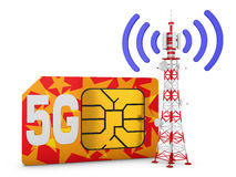Sim card and telecommunication tower. Sim card with the inscription 5G and telecommunication tower with signal royalty free illustration