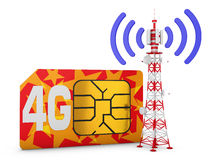 Sim card and telecommunication tower. Sim card with the inscription 4G and telecommunication tower with signal Stock Illustration