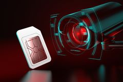 Sim card under observation. Spying on mobile data transfers or phone calls concept. 3D rendering. Sim card under observation. Spying on mobile data transfers or royalty free illustration