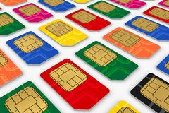 SIM cards. Telecommunication concept: endless rows of color SIM cards stock illustration