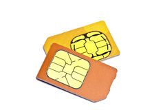 Sim Cards. For mobile phone isolated on white background Stock Image