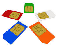 SIM cards. Collection SIM cards. Three-dimensional Shape stock illustration