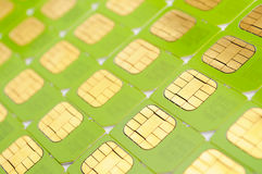 SIM cards. Number of green SIM cards. May be used as background Stock Photo