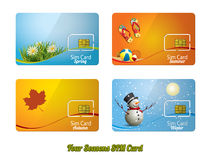 Sim cards. Set of four beautiful sim cards Royalty Free Stock Image