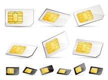Sim cards. Set of six sim cards and six other one in black stock illustration