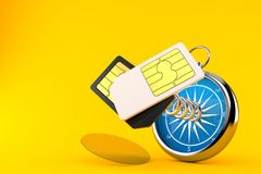 SIM cards with compass. Isolated on orange background. 3d illustration vector illustration