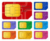 SIM cards. Creative abstract mobile telecommunication, wireless technology and mobility business concept: detailed vector illustration of group of color SIM vector illustration