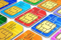 SIM cards. Creative abstract mobile telecommunication, wireless technology and mobility business concept: macro view of group of color SIM cards for mobile phone stock illustration