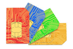 SIM cards 3D. On white background royalty free illustration